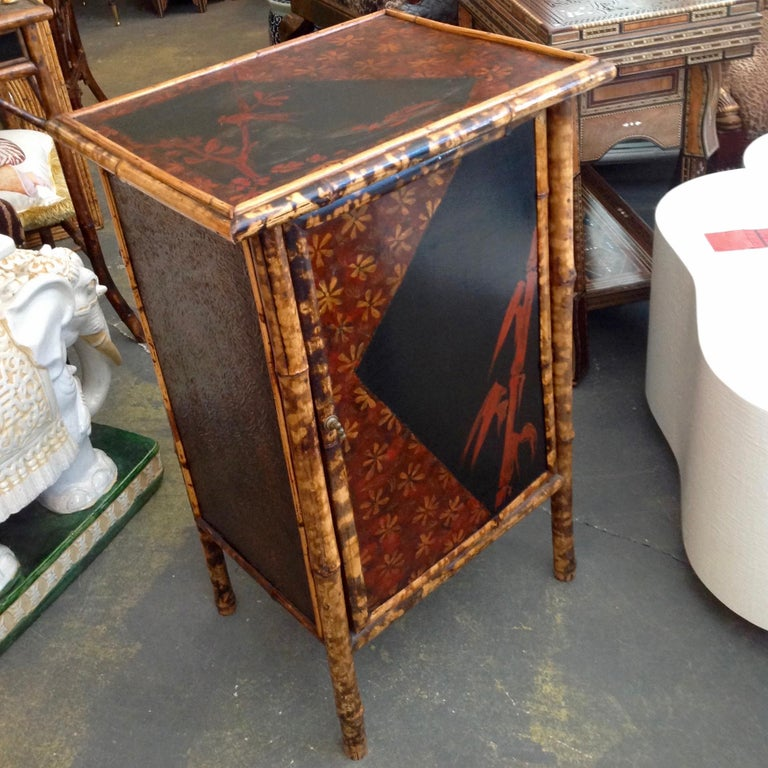 Edwardian Bamboo Side Cabinet In Good Condition For Sale In West Palm Beach, FL