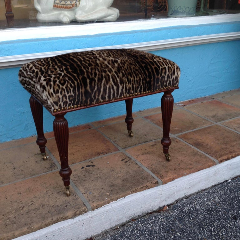 Brass 19th Century English Lynx Covered Bench For Sale