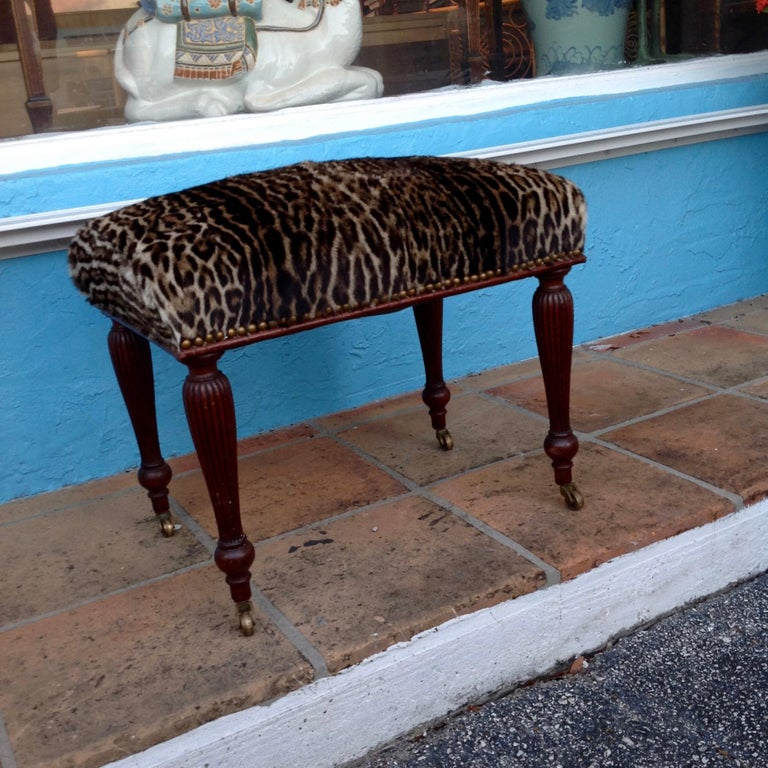 19th Century English Lynx Covered Bench For Sale 1
