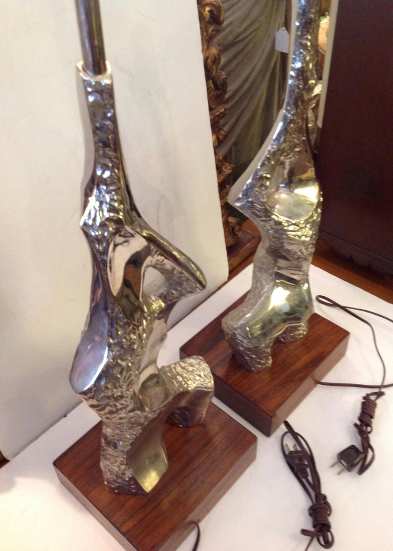 Pair of Maurizio Tempestini Brutalist Rock Form Lamps For Sale 1