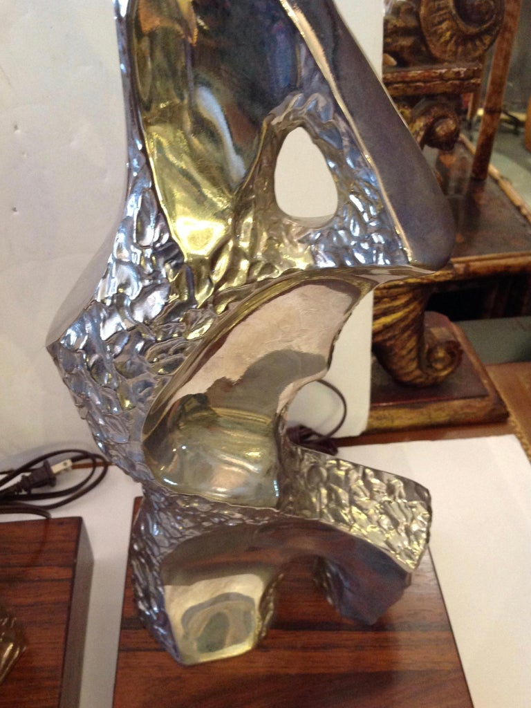 Pair of Maurizio Tempestini Brutalist Rock Form Lamps For Sale 3