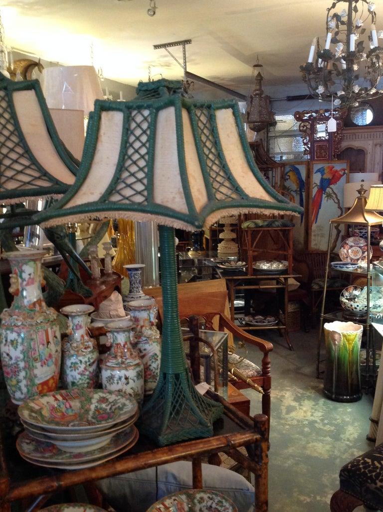 Brighton Inspired Wicker Floor Lamp For Sale 7