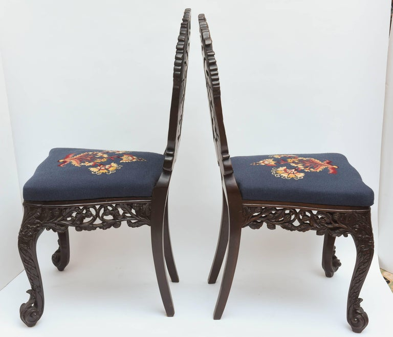 Superb Pair of  19th Century Anglo-Indian Side Chairs For Sale 2