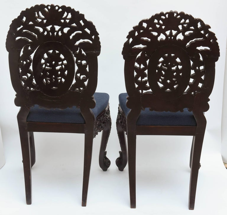 Superb Pair of  19th Century Anglo-Indian Side Chairs For Sale 3