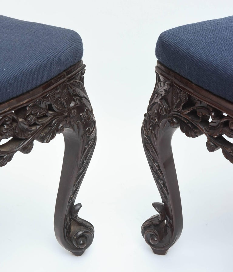 Superb Pair of  19th Century Anglo-Indian Side Chairs For Sale 4