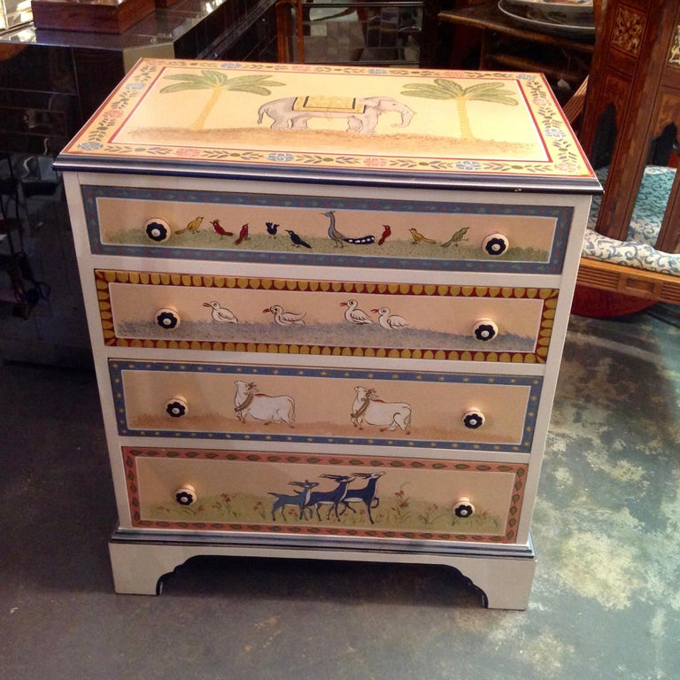 Anglo-Indian Hand Painted Children's Room Dresser For Sale
