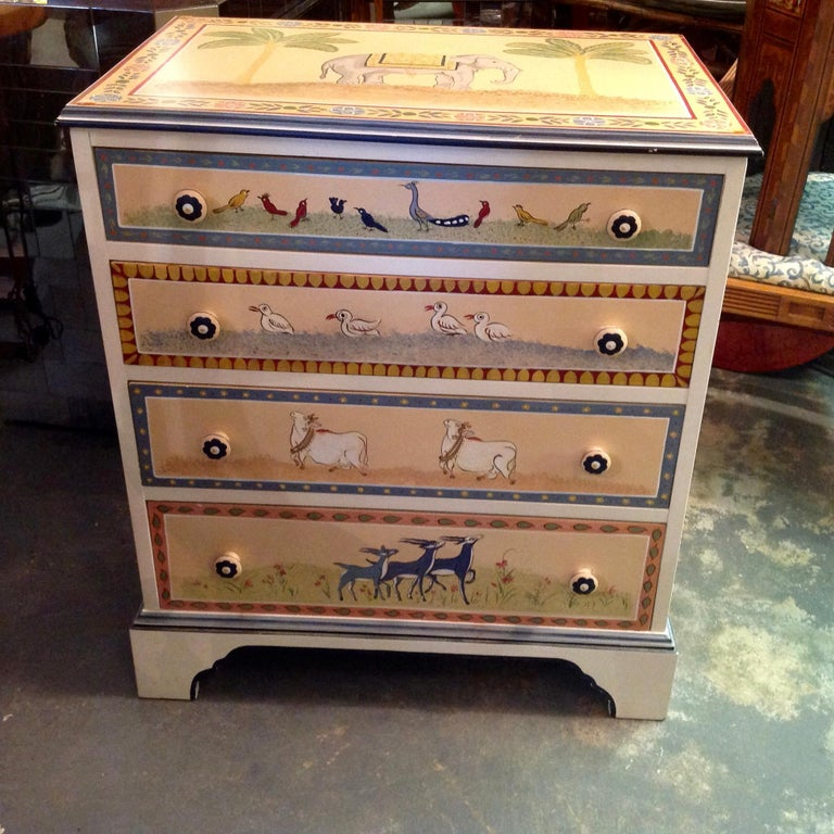American Hand Painted Children's Room Dresser For Sale