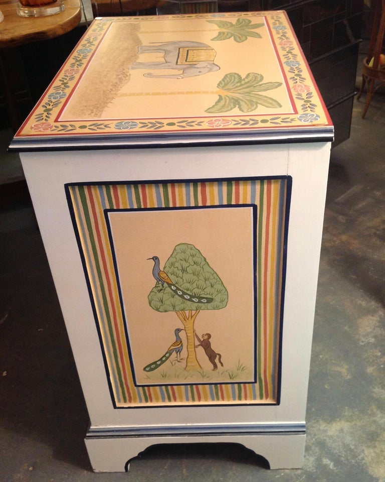 Pine Hand Painted Children's Room Dresser For Sale