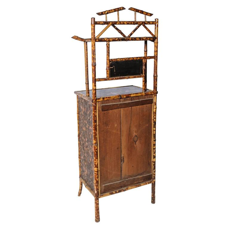 Superb English Bamboo Side Cabinet / Bookcase For Sale 6