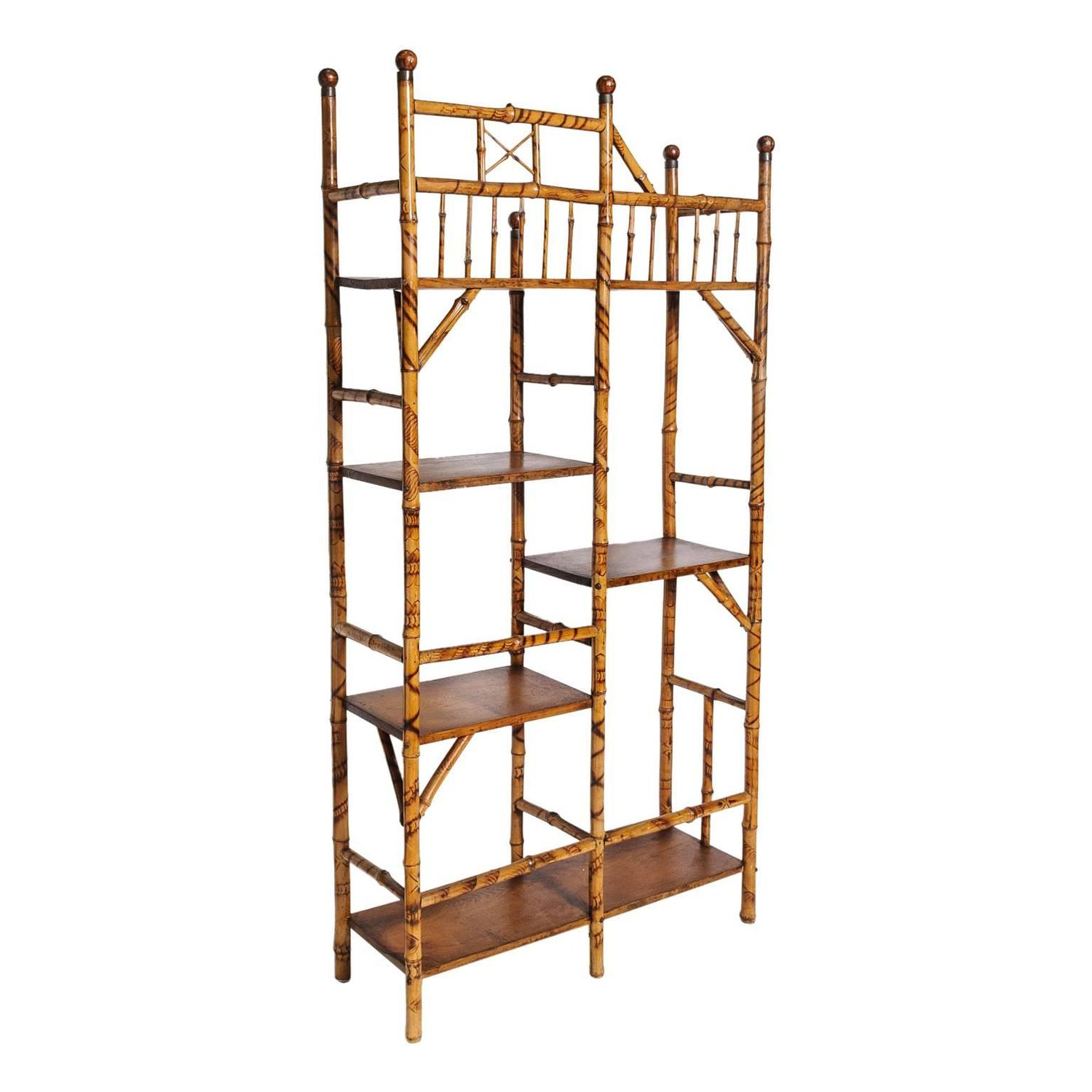 fine english bamboo etagere book stand for sale at 1stdibs. Black Bedroom Furniture Sets. Home Design Ideas