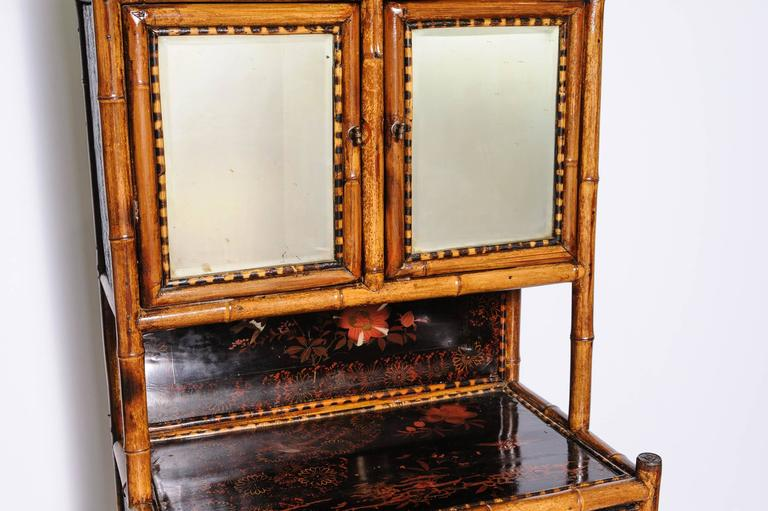 Lacquered Superb English Bamboo Side Cabinet For Sale