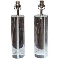Pair of Midcentury Lucite Cylinder Lamps