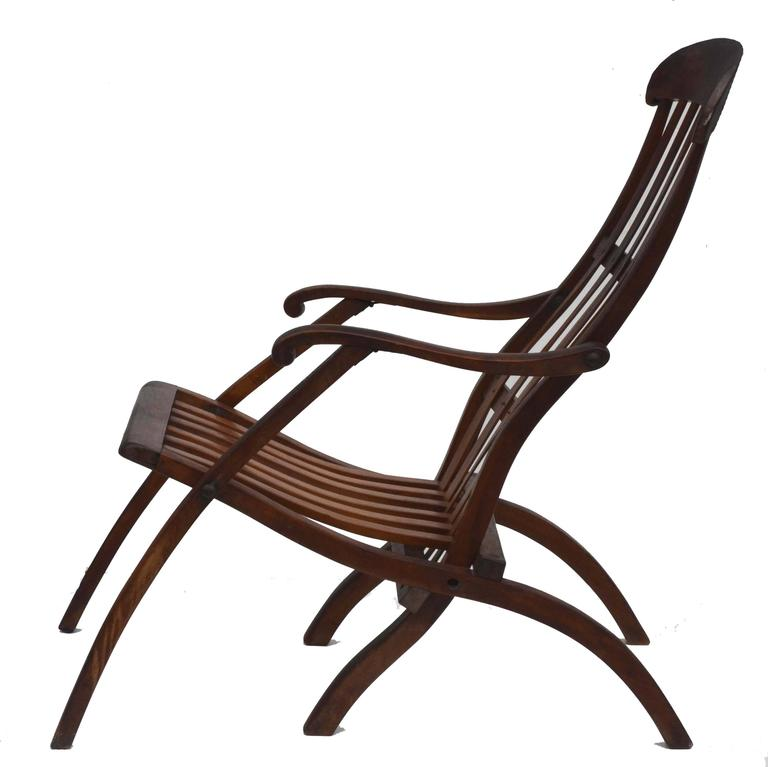 Early 20th Century Teak Folding Lounge Chair For Sale