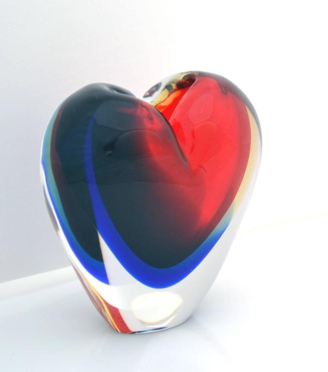 Murano Sommerso Heart Vase By Michael Onesto For Atelier Oball At