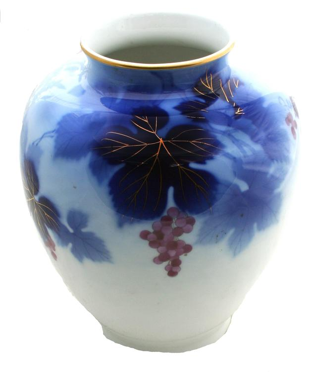 Grape Blue And White Japanese Vase At 1stdibs