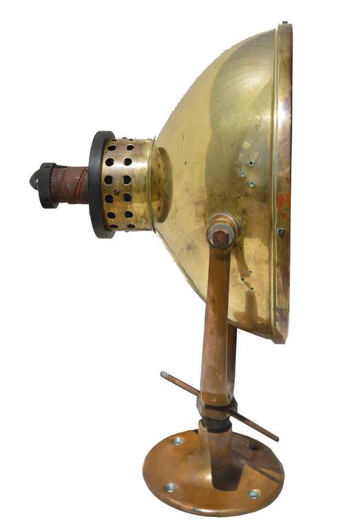 Industrial Wilmot Castle Vintage Brass Ship Searchlight