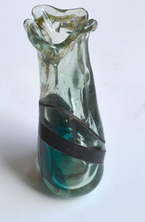 Brutalist Sea Glass And Iron Vase At 1stdibs