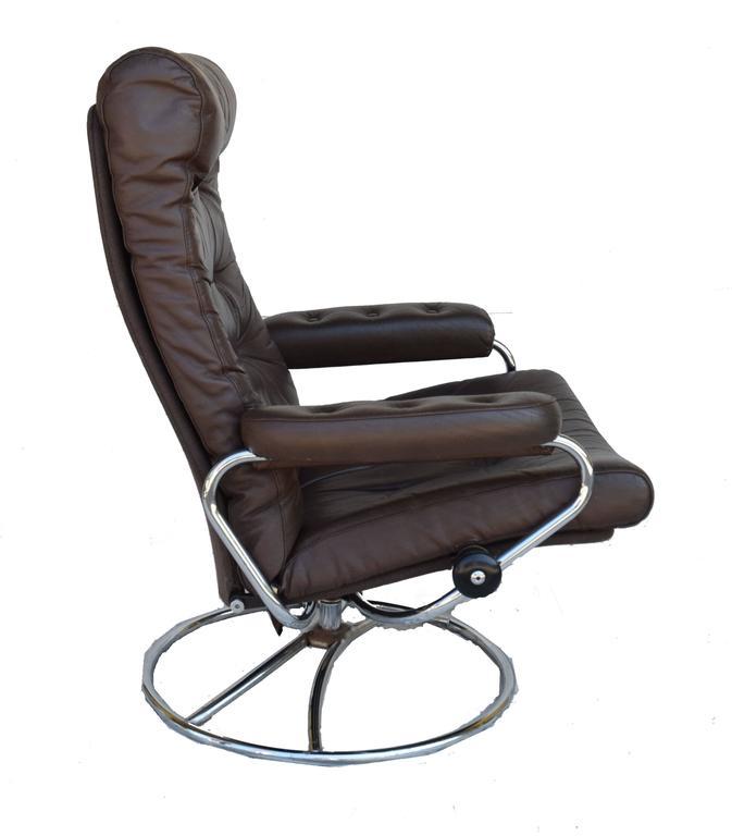 Scandinavian Modern Ekornes Stressless Chair And Ottoman, 1972 For Sale