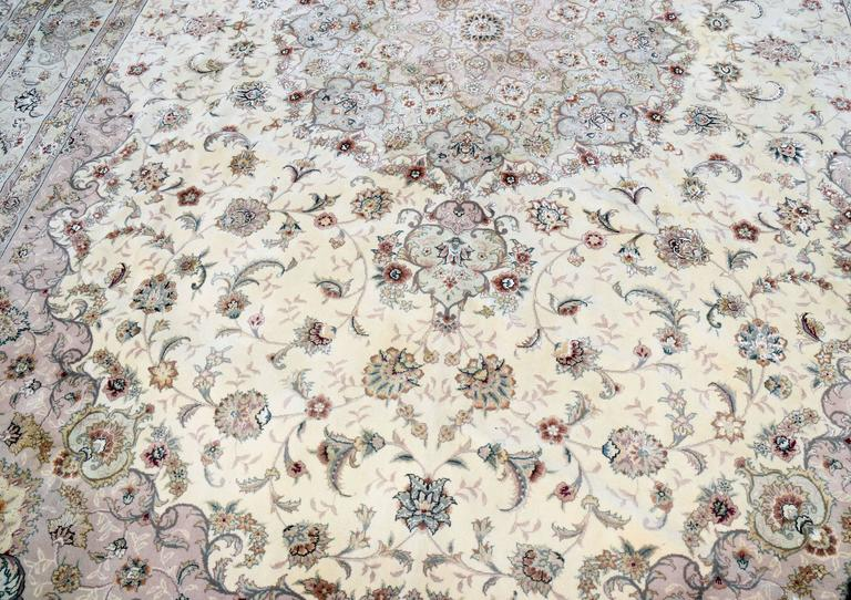 Pakistani Kashan Persian Style Hand-Knotted Wool and Silk Rug For Sale