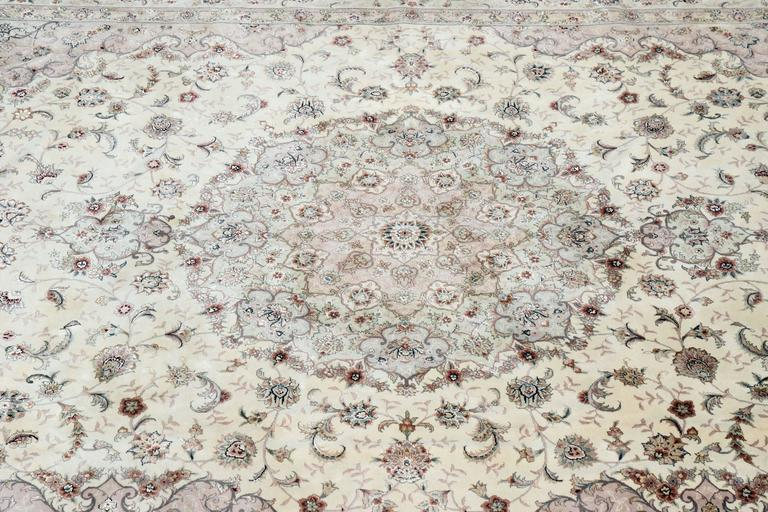 Contemporary Kashan Persian Style Hand-Knotted Wool and Silk Rug For Sale
