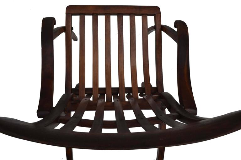 American Early 20th Century Teak Folding Lounge Chair For Sale