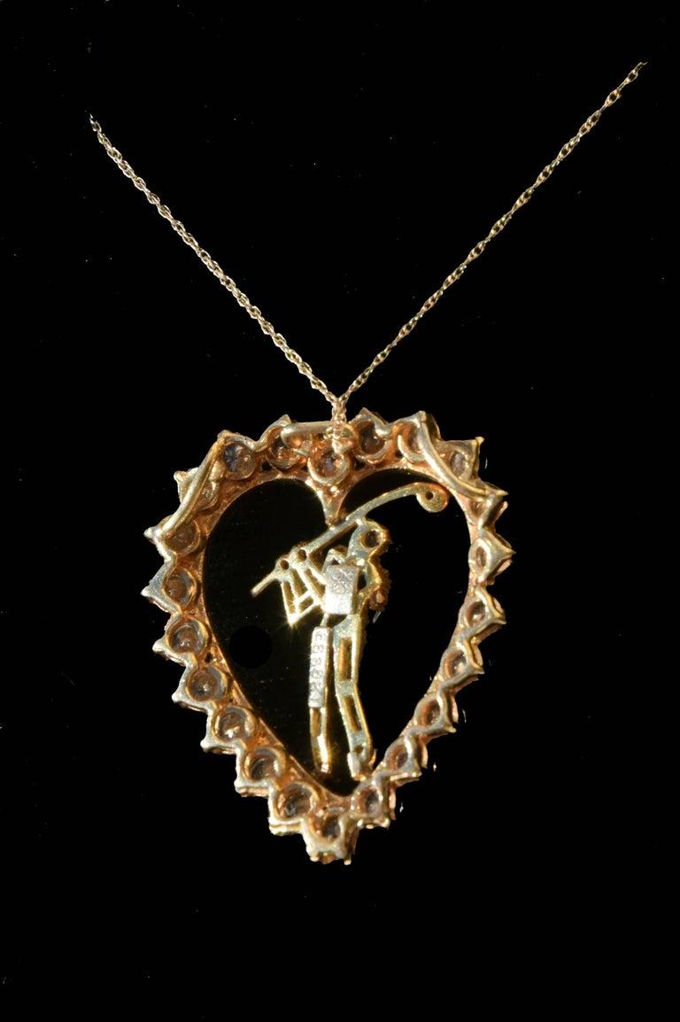 Modern Jose Hess Vintage Diamond Golfer Heart Pendant 2.09 total carats For Sale