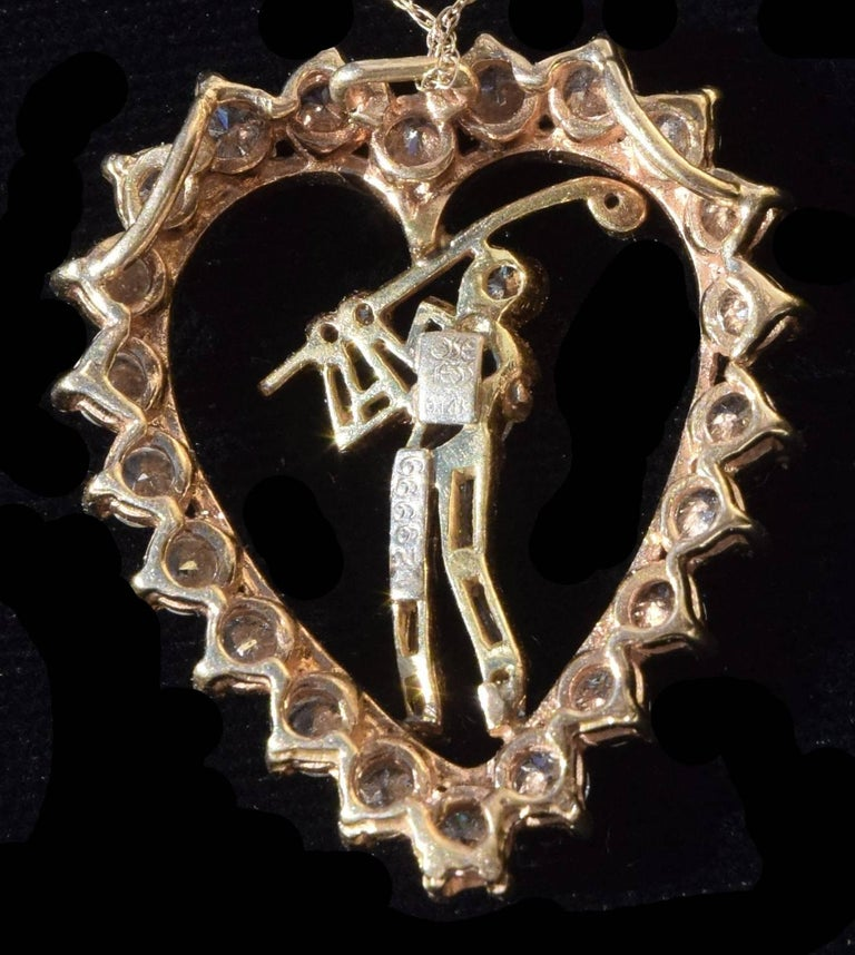 American Jose Hess Vintage Diamond Golfer Heart Pendant 2.09 total carats For Sale