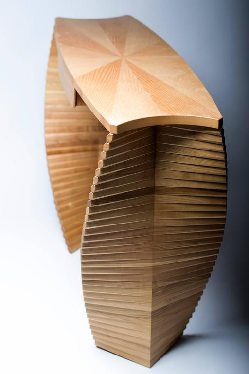 Linear Ellipse, Unique Wood Console, Jan Waterson 2