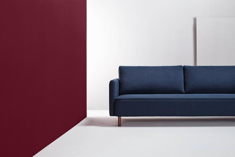 Zero Sofa designed by Pepe Albargues  Dimensions: 88 x 180 x 95 cm Pine wood structure reinforced with plywood and tablex. Seat stuffed with Bultex and sofa covered with polyester. Backrest cushions stuffed with 50% goose feathers and 50%