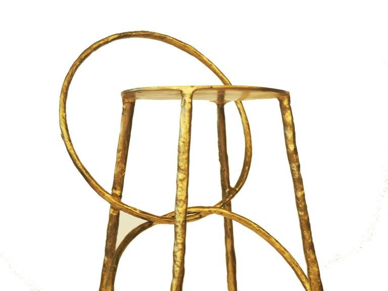 Post-Modern Brass Handsculpted Stool - Hoola - Misaya For Sale