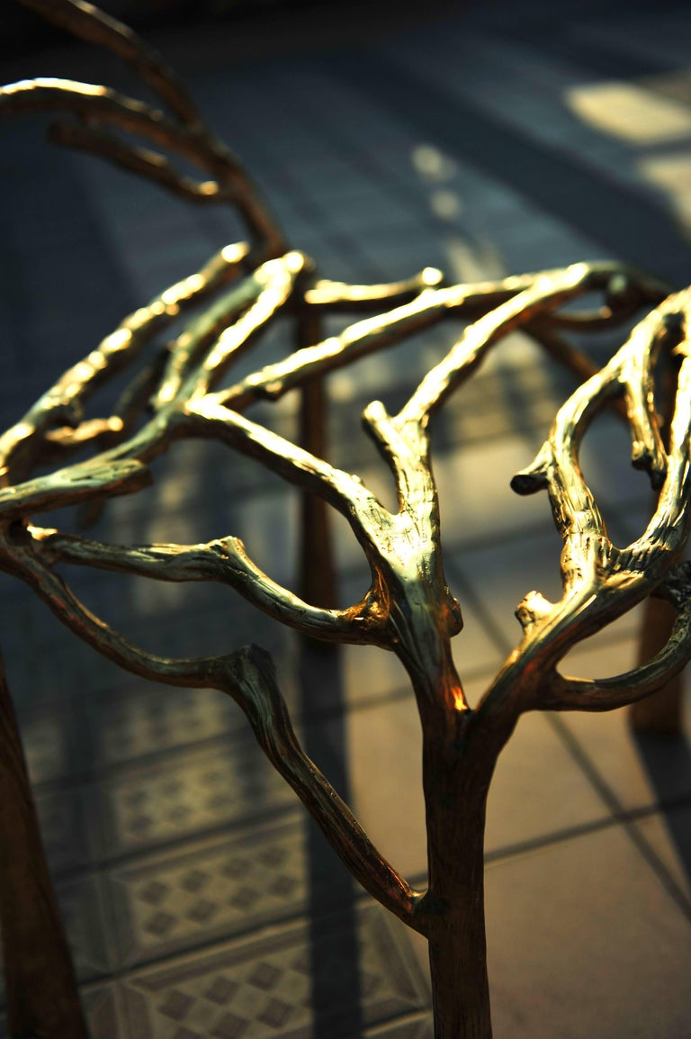 Thai Handsculpted Brass Chair, Twigy, Masaya For Sale
