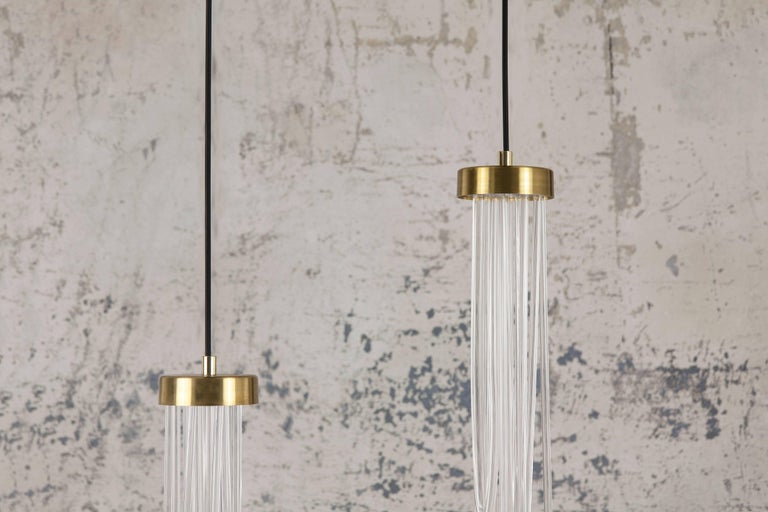 Post-Modern Brass Light Pendant, Double Cascade For Sale