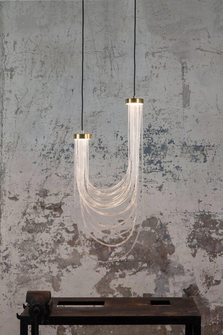 Italian Brass Light Pendant, Double Cascade For Sale