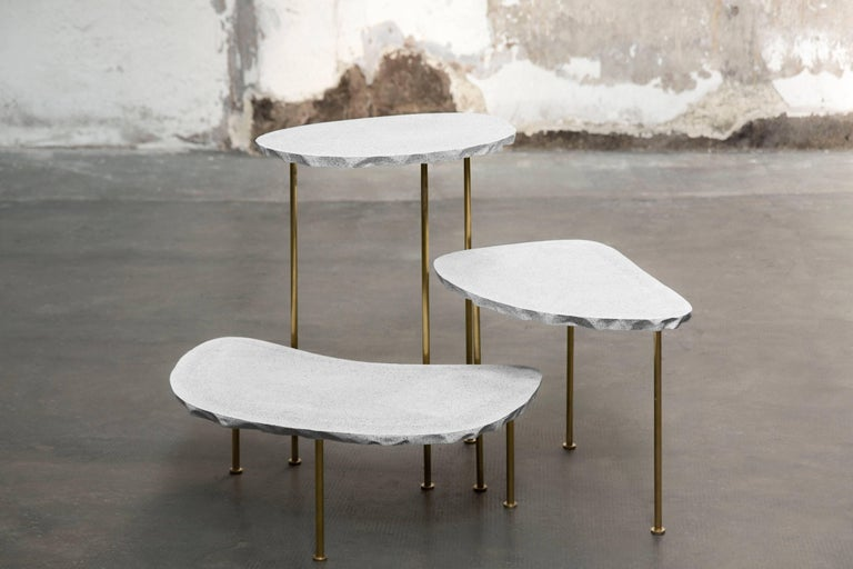 Modern Fossils, Brass and Resin Tables Ensemble In New Condition For Sale In Collonge Bellerive, Geneve, CH
