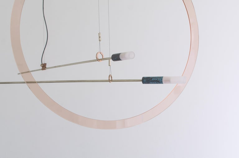 Brass Sculpted Light Suspension, Opus X, Periclis Frementitis In New Condition For Sale In Collonge Bellerive, Geneve, CH