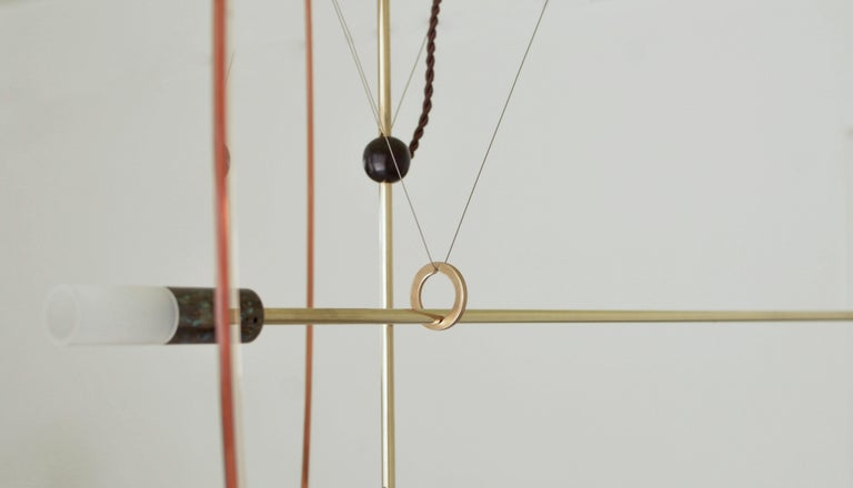 Brass Sculpted Light Suspension, Opus II, Periclis Frementitis In New Condition For Sale In Collonge Bellerive, Geneve, CH