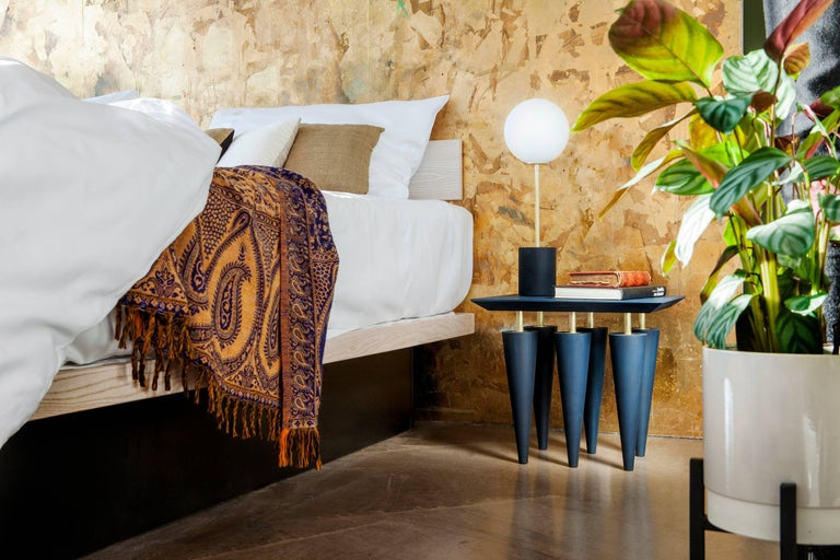 Organic Modern Blue Birchwood and Brass Coffee Table, Zwei Design For Sale