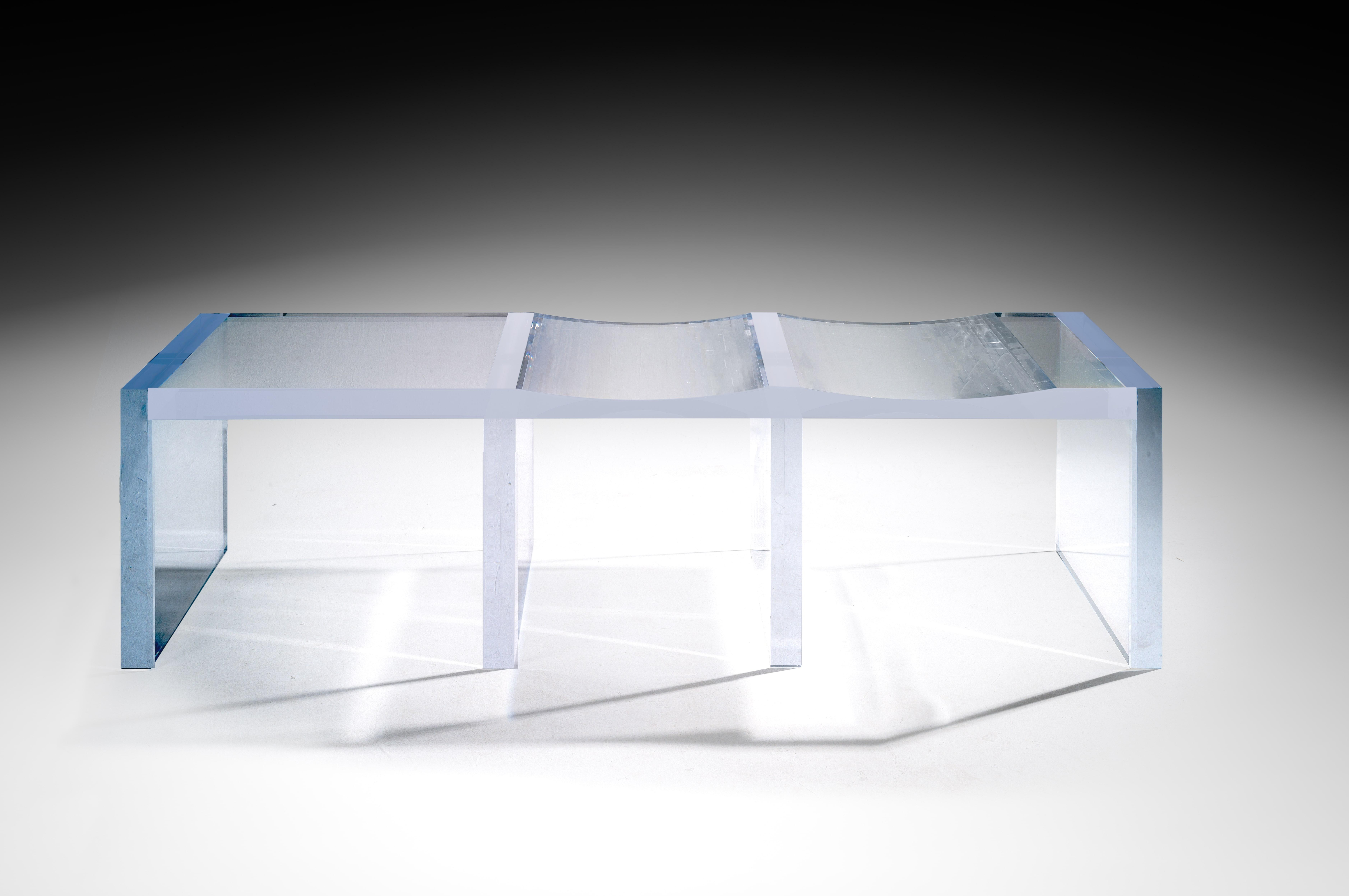 Ghost Altuglas Bench By Charly Bounan Hand Sculpted Altuglas Design Artwork  Dimensions: 200 X