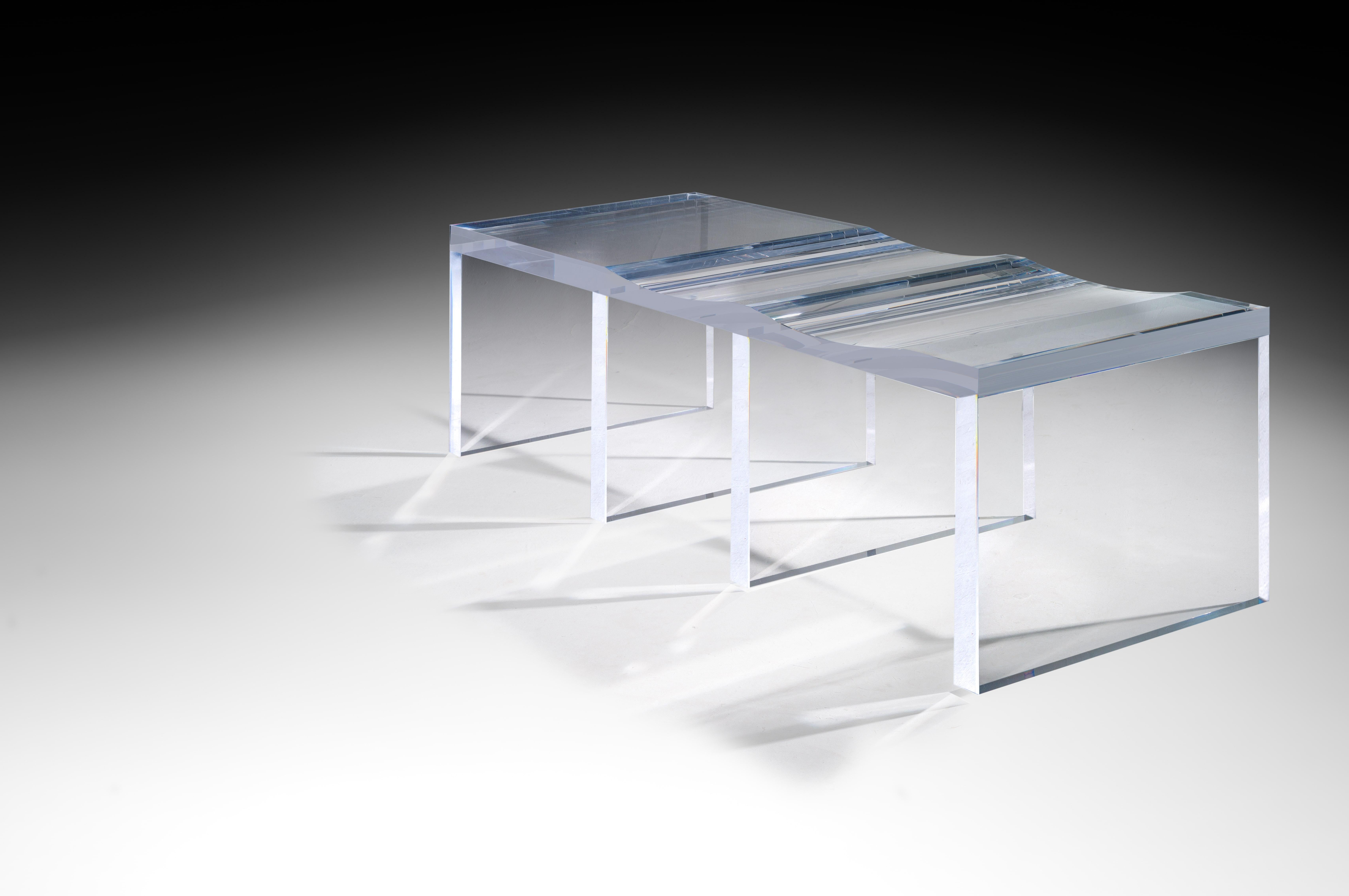 Modern Ghost Altuglas Bench By Charly Bounan For Sale