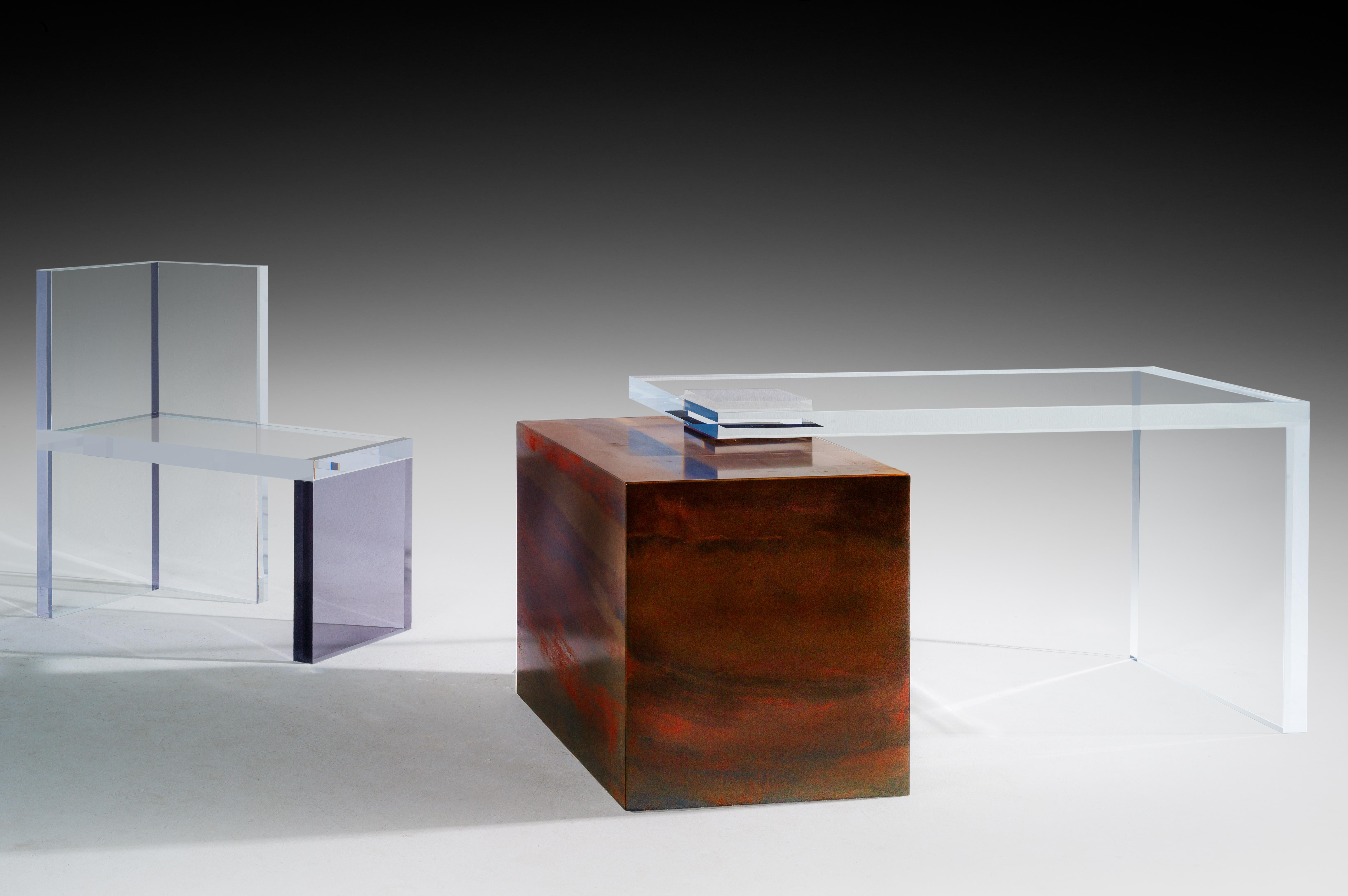 Modern Ghost Altuglas Desk By Charly Bounan For Sale