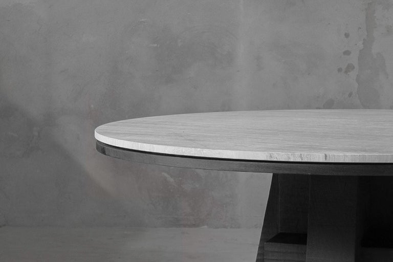 Modern AD Round Table Iroko and Stone Signed Table, Arno Declercq For Sale