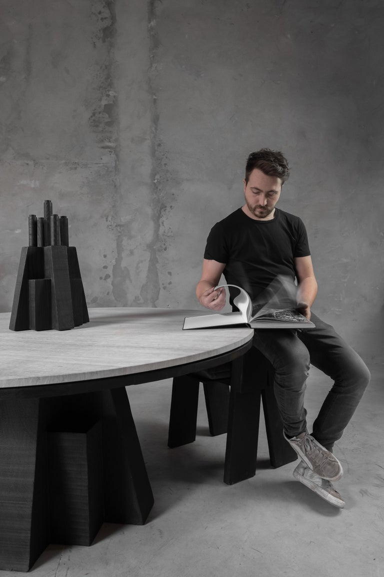 AD Round Table Iroko and Stone Signed Table, Arno Declercq In New Condition For Sale In Collonge Bellerive, Geneve, CH