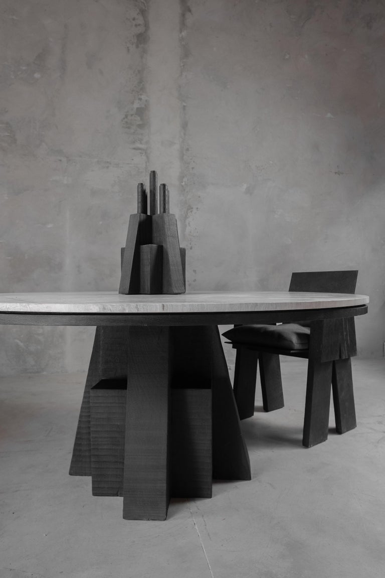 Contemporary AD Round Table Iroko and Stone Signed Table, Arno Declercq For Sale