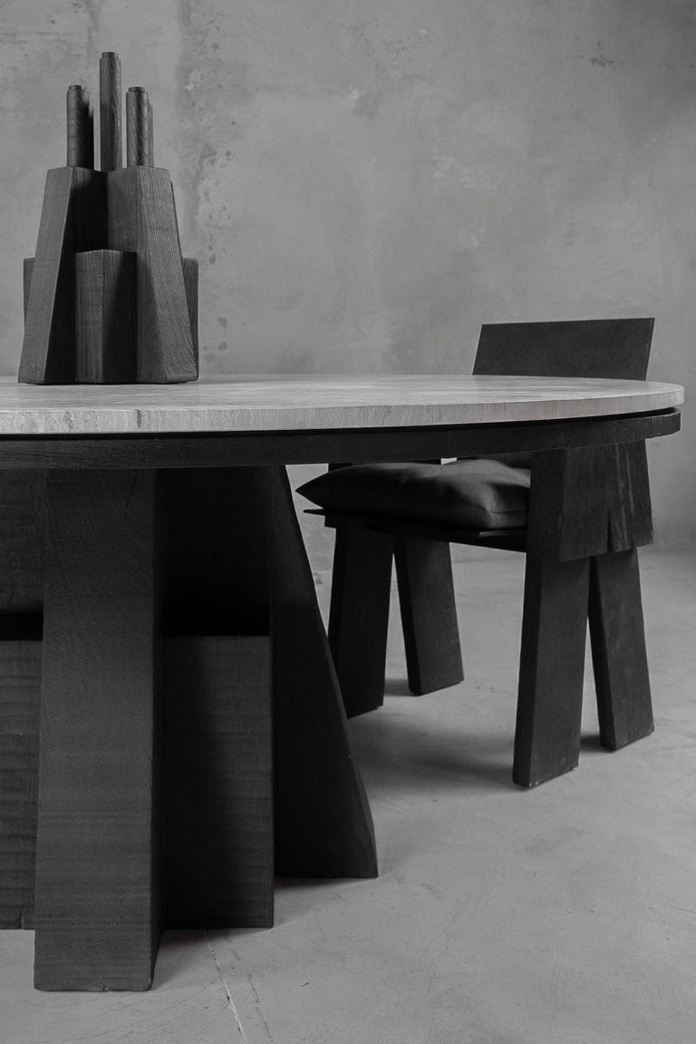 AD Round Table Iroko and Stone Signed Table, Arno Declercq For Sale 1