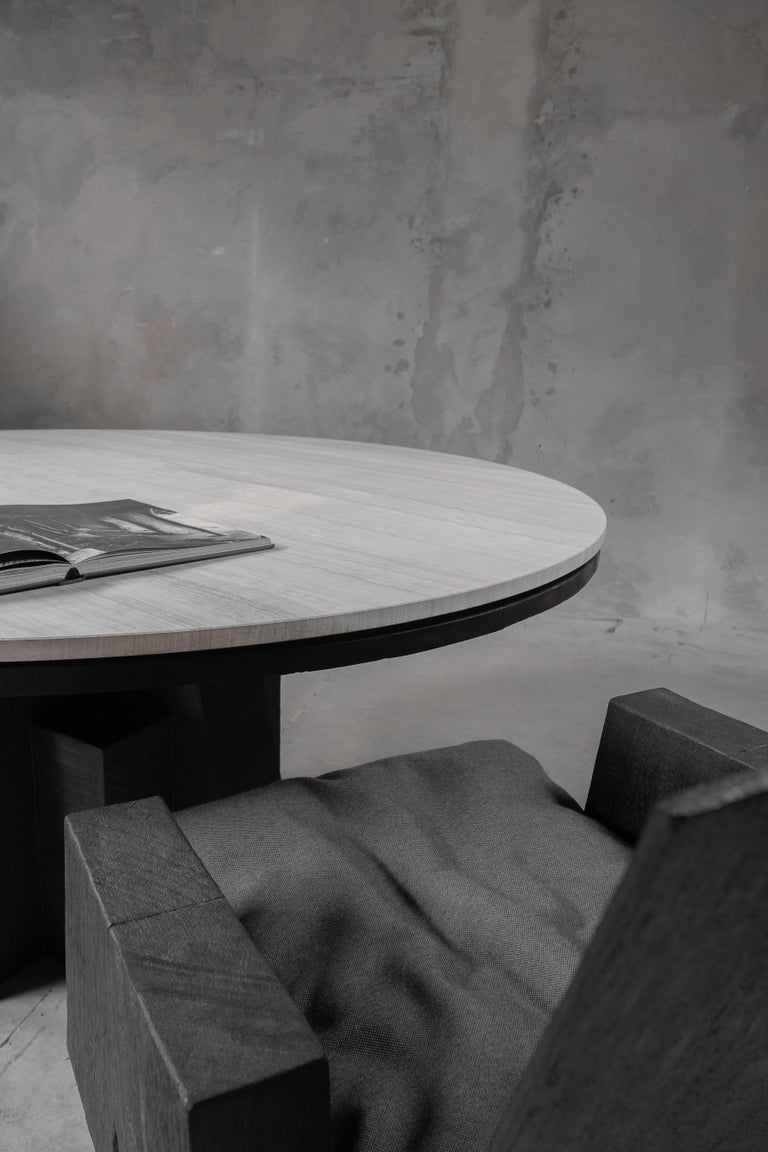 Belgian AD Round Table Iroko and Stone Signed Table, Arno Declercq For Sale