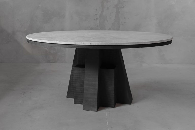 AD Round Table Iroko and Stone Signed Table, Arno Declercq For Sale 2