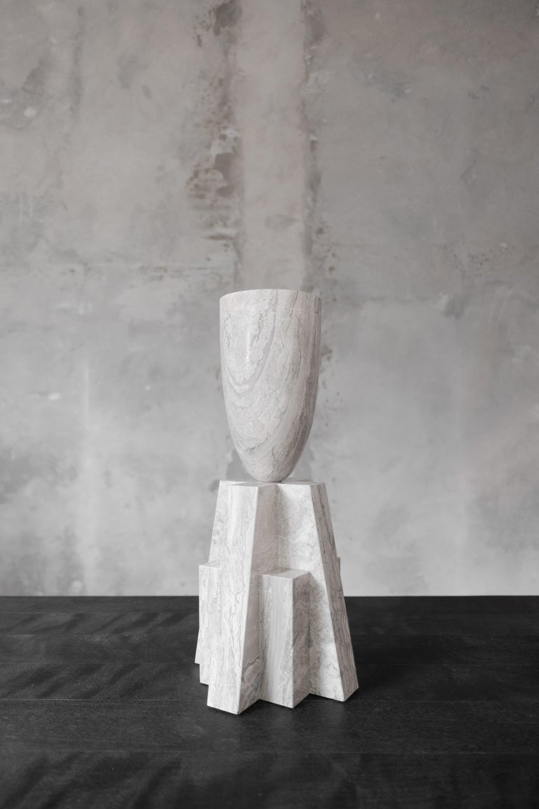"""Babel vase marble Measures: 65 cm H // 25.6"""" H Didyma Brushed stone by Van Den Weghe Signed by Arno Declercq.  Arno Declercq Belgian designer and art dealer who makes bespoke objects with passion for design, atmosphere, history and craft. Arno"""