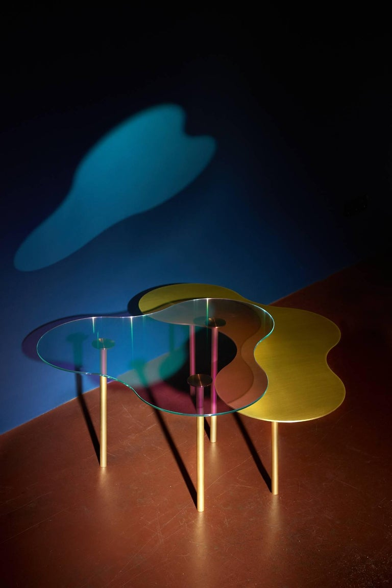 Organic Modern Brass Coffee Table Ensemble of 3-Sebastian Scherer For Sale
