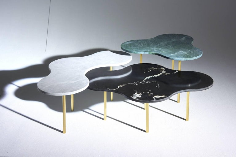Contemporary Brass Coffee Table Ensemble of 3-Sebastian Scherer For Sale