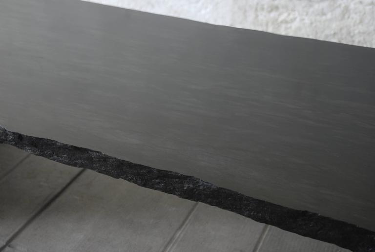 Fruste Marble Slate Coffee Table Designer Frédéric Saulou Materials Trélazé Black